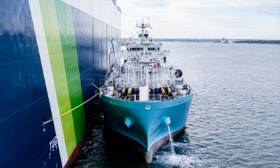 LNG bunkering vessel Kaguya conducts first ship to ship fuel supply. Image: NYK Line