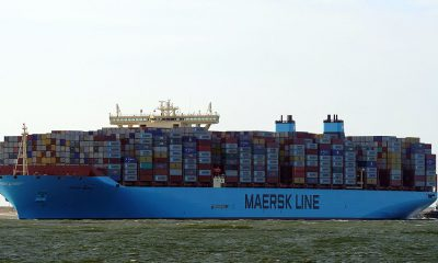 Maersk will operate the world's first carbon neutral liner vessel by 2023. Image: Wikimedia/ kees torn