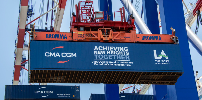 Port of Los Angeles marks a milestone of 10 million containers. Image: Port of Los Angeles