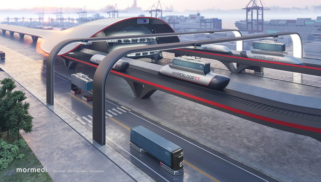 HyperloopTT and HHLA present HyperPort at ITS World Congress. Image: HHLA