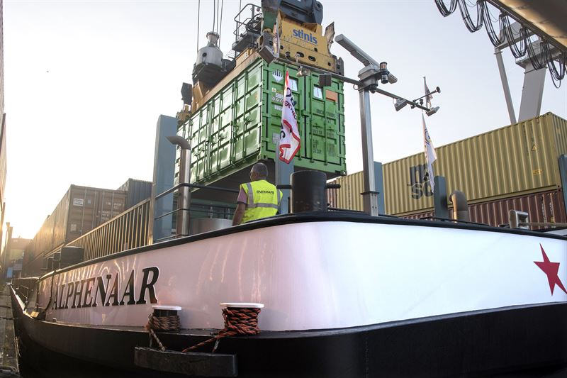 Wartsila swappable battery containers enabling inland waterway vessels to operate with zero emissions. Image: Wartsila