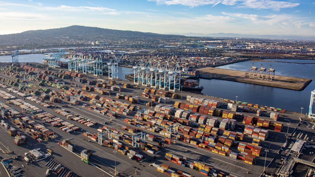 A record at Port of Los Angeles as cargo volume exceeds 903,000 TEUs. Image: Port of Los Angeles